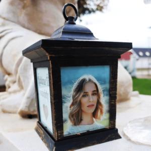 svietnik na hrob s fotkou